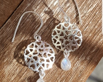 Earrings 925 sterling silver with Moonstone