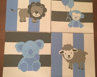 Animal nursery wall art canvas (set of four)