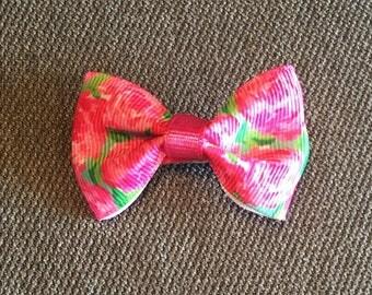 Pink Flowers Tuxedo Hair Clip