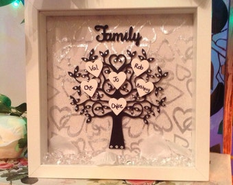 Personalised Wooden Family Trees, Picture, Photo Box Frames, Family Keepsakes