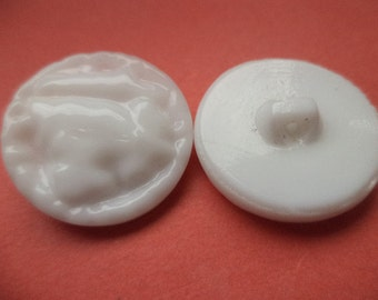 9 GLASS BUTTONS 14 mm 23 mm white (4829 1961) glass button