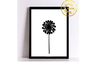 Printable art Digital Prints modern black flower wall art printable art, printable prints