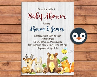 Woodlands Baby Shower Invitation. Watercolour. DIGITAL FILE