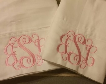 Monogrammed Personalized White pillowcase set