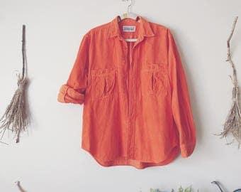 Orange Corduroy Button Up