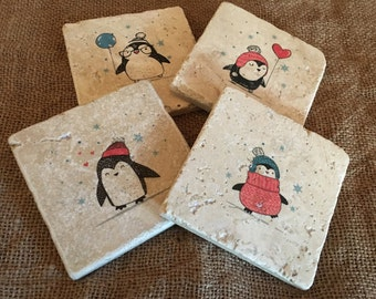 Cute Penguins Coaster Set, Tile Coasters, Drink Coasters, Travertine Coasters, Souvenir Coasters, Home Decor, Gift Ideas