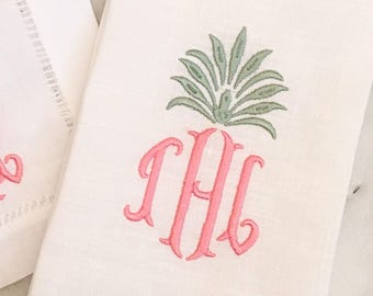 Pineapple Monogrammed Tea Towel
