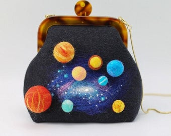 Needle felt planets in the universe, Needle Felted art bag, Wet felt bag, Wool Felt Purse, Kiss Lock Pouch, felt handbag with stars