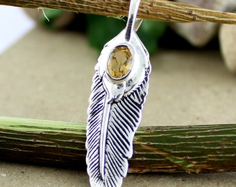 Citrine Pendant, Feather Design, Wings jewellery, Yellow Gemstone, solid silver, oval faceted, party wear pendant necklace, wedding gifts