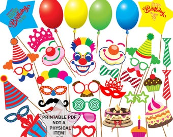 Birthday Party Photo Booth Props PRINTABLE PROPS Kids Printable Children