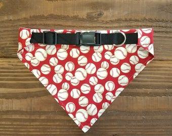 Baseballs on Red Pattern Dog Bandana