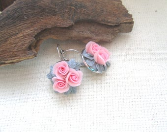 Earrings with roses,pink roses, серьги-букетики,нежные серьги,Gift for the girl.