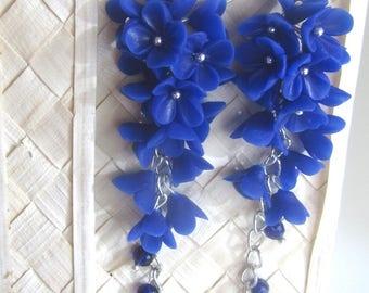 long earrings- Earrings with blue flowers-Long floral earrings-Flower decoration-Handmade earrings