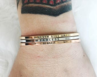 Inspirational Quote Bracelet // silver gold rose gold bracelet cuff // wifey // believe // be brave // sisters // happy camper //