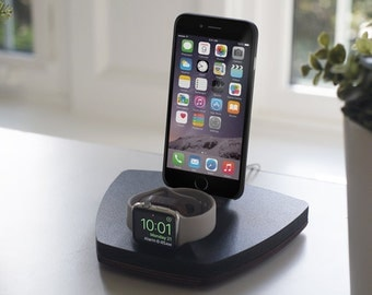 NytStnd DUO 1 Midnight - FREE SHIPPING Dock Charging Station Wireless for iPhone 8 Apple Watch Oak Maple Wood Christmas Birthday Gift