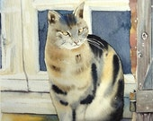 Original watercolor painting / the cat at the window / animal / Weissenberger Christine