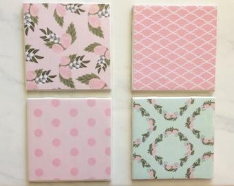 Coasters, Pink Coasters, Mint Coasters, Decorative Coasters, Set of 4 Coasters, Tile Coasters, Drink Coasters, Ceramic Coasters