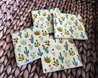 Coasters, Cactus Coasters, Green Coasters, Decorative Coasters, Set of 4 Coasters, Tile Coasters, Drink Coasters, Ceramic Coasters