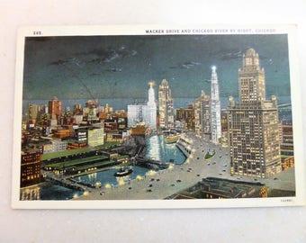Vintage Postcard Chicago Wacker Drive Chicago River 1930s