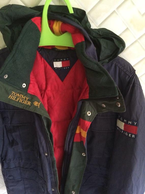 Vintage Tommy hilfiger parka jacket coat big logo ski spell out