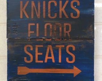 Knicks Floor Seats | Basketball Sign | Madison Square Garden | New York Knicks | Distressed Wood Handmade | Boys Decor | Man Cave