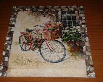 Square canvas decoupage bicycle fiorita