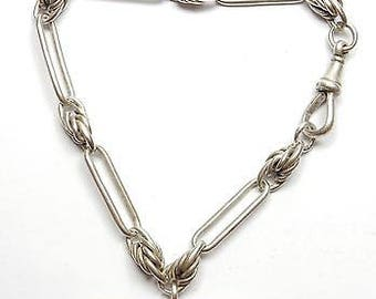 Antique Victorian 925 Sterling Silver Trombone Link Fancy Albert Watch Chain/Bracelet & T Bar