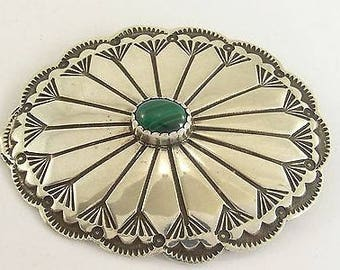 Vintage Silver Brooch/Pendant with Green Banded Agate Central Stone