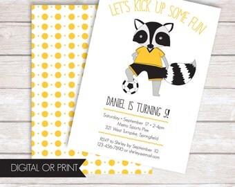 Soccer Invitation, Sports Birthday Invitation, Soccer Party Invite, Raccoon Birthday Invitation, Printed Invitation, Printable Invitation