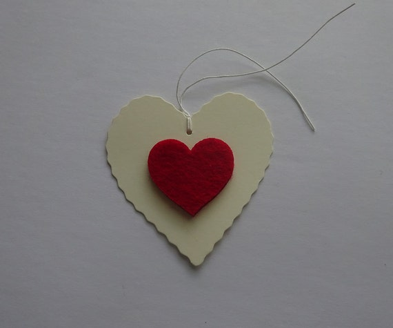 Luxury Handmade Gift Tags - Cream Heart Tag with Heart - 2D