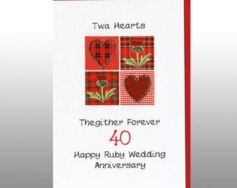 Ruby Anniversary Twa Hearts Card WWWE30