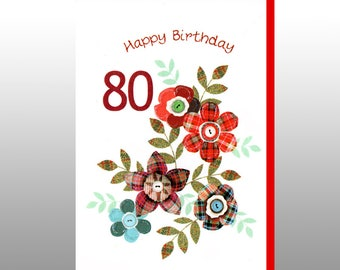 Birthday Special Age Tartan Flowers Card WWBI85