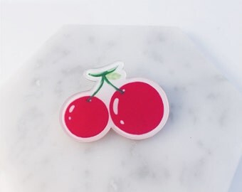 Cherry pin; fruit pin; cherry brooch; red pin