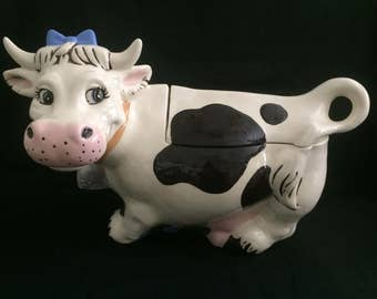 Vintage happy holstein cow cookie jar with lid large