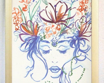 1920's Flapper and Flowers watercolor