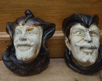 Jester and sea captain chalkware candle stick holders