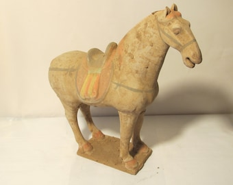 Vintage  Hand Made Clay Horse