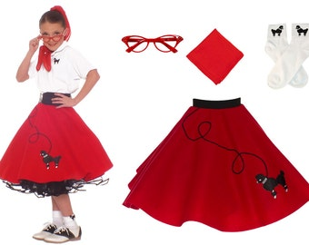 4 pc SMALL Child (4-6) 50's Poodle Skirt OUTFIT
