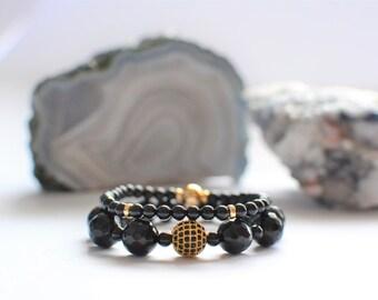 Black Bracelets, Bead Beaded Bracelets, Womens Bracelet, Jewelry, Onyx, Agate, Gold, Gold plated, Black and Gold Jewelry stones trendy