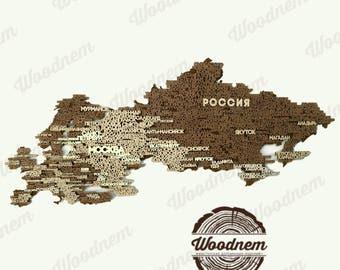 3D карта России и Европы из дерева. Wooden map