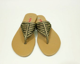 Traditional Black and Golden Sandal