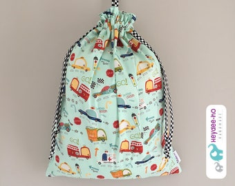 Kids drawstring bag - vehicles, fire truck, racing cars