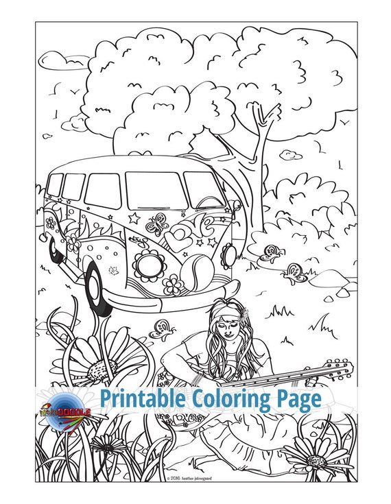 ladies choice bundle 2 adult coloring pages hippie hippy guitar free spirit bohemian married wedding chapel honeymoon laundry - Hippie Coloring Pages