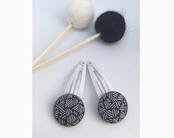 2x Black/White Etch Fabric Button on White Hair Clips • Snap Clips • Girls Hair Accessories • Monotone • Pack of Two • Metal • Coated