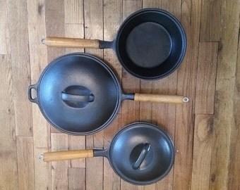 Vintage cast iron cookware set