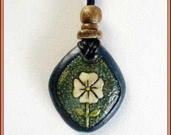 Pendant flower, thinking pendant, boho pendant, contemporary jewelry pendant, engagement pendant, papier maché pendant, handmade pendant.