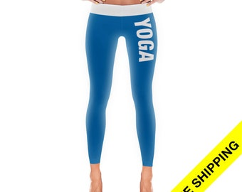 Items similar to Bright Blue Workout Leggings / compression ...