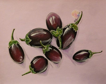 "Eggplant painting , eggplant still life, 11""x14"" original painting, Acrylic on watercolor paper, dining room decor, kitchen wall art"