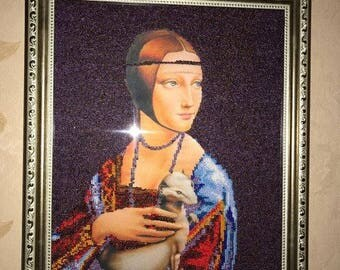 """Hand made .Embroidered with Beads picture. Рicture""""Girl with ermine"""""""