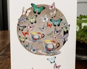 Butterflies and Teacups Greeting Card